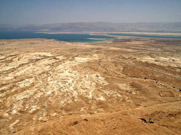 Looking from Masada toward the Dead Sea, the lowest point on earth.