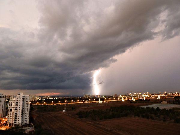 Lightning display off the coast of Tel Aviv, Israel.