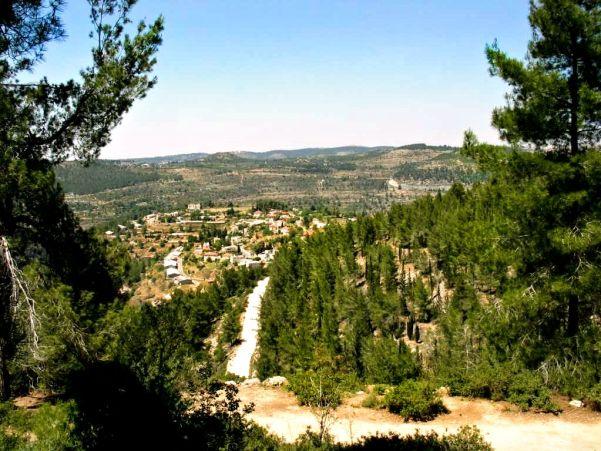 Springtime view of Even Sapir, a moshav on the outskirts of Jerusalem, Israel.