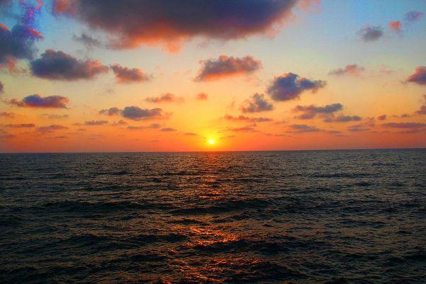 Sunset from the port of Tel Aviv, Israel..