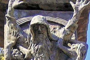 """Detail of the Knesset Menorah: """"Moses Prevails Over the Amalekites,"""" as in Exodus 17:8-16)."""