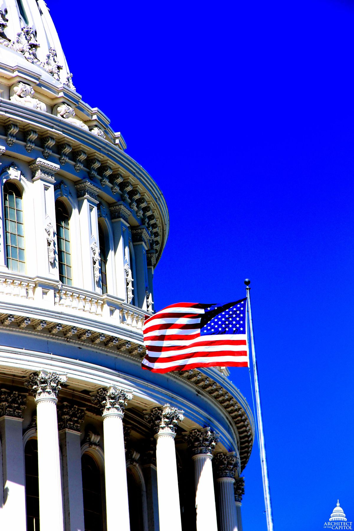 """""""Old Glory"""" flying on the U.S. Capitol."""