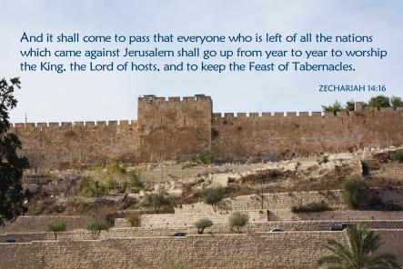 Everyone who is left of all the nations which came against Jerusalem shall go up from year to year to worship the King, the Lord of hosts, and to keep the Feast of Tabernacles. Zechariah 14:16.