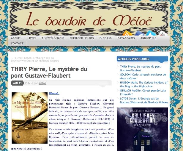 Le Boudoir de Méloë vous recommande le Mystère du pont Gustave-Flaubert