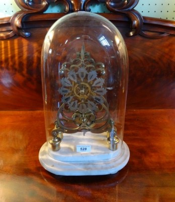 Lot 528 - Late 19th Century Brass Skeleton Clock with Glass Dome on Marble Plinth