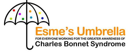 Esmes Umbrella logo For everyone working for the greater awareness of Charles Bonnet Syndrome, an umbrella log with coloured poke dots over the name Esme's Umbrella, For everyone working for the greater awareness of CBS