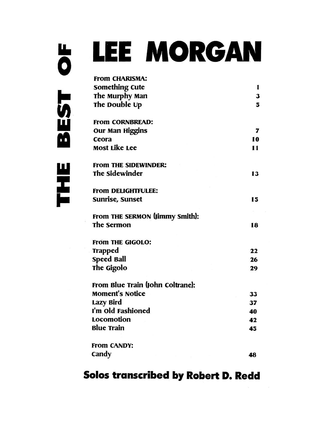 The Best of Lee Morgan Transcriptions