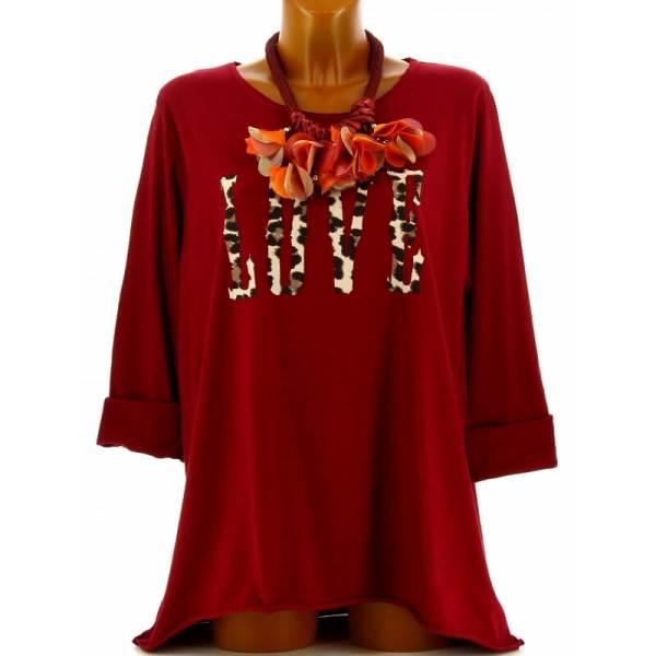 Tee Shirt Femme Grande Taille Boh Bordeaux Love