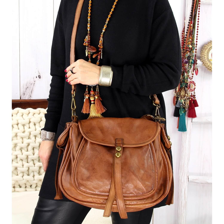 grand sac cuir vintage delave clous boston camel