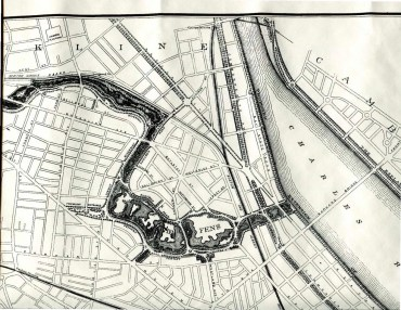 Detail, Map of the Boston Park System by Frederick Law Olmsted, 1884