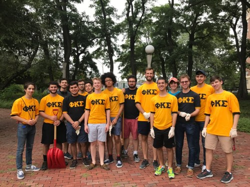 Members of the Phi Kappa Sigma fraternity at MIT