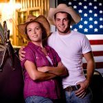 Portrait Couple American Flag
