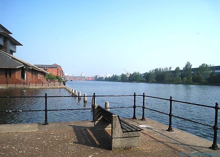 View of East Bute Dock in Cardiff on the Wales Coast Path, looking back from the council headquarters. Walking in Wales. Photograph by Charles Hawes