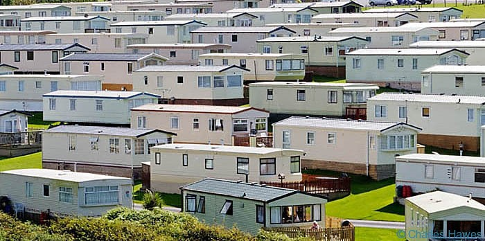 Caravan Park taken from The Wales Coast path between Rhossili and Llanrhidian, photographed by Charles Hawes. Walking in Wales