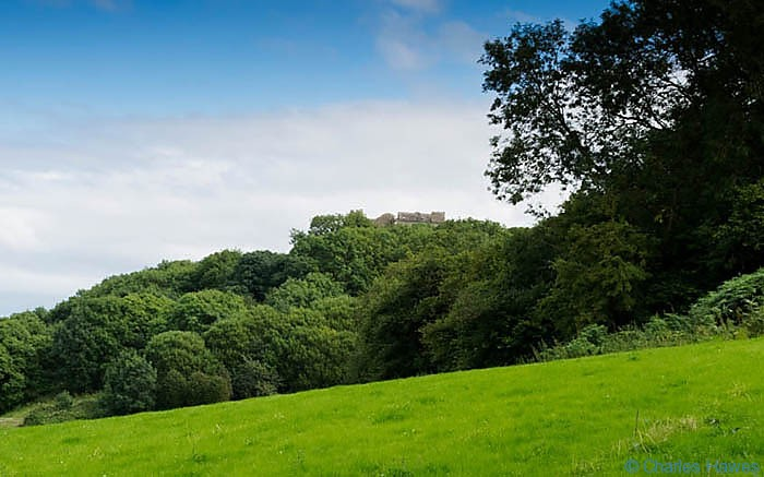 Weobley Castle taken from The Wales Coast Path, photographed by Charles Hawes Between Rhossili and Llanrhidian. Walking in Wales.