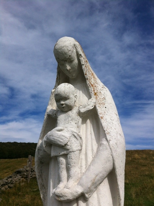 Staue of madonna and child near Aubrac on The Way of St James between Nasbinals and Chely d'Aubrac on The Way of St James photographed by Charles Hawes. Route st Jacques. GR65