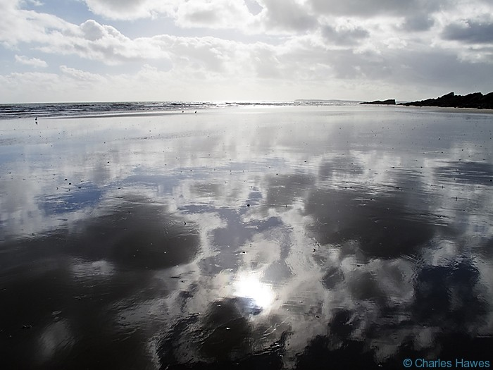 Marros Sands photographed from the Wales Coast Path between St Clears and Amroth by Charles Hawes. Walking in Wales.