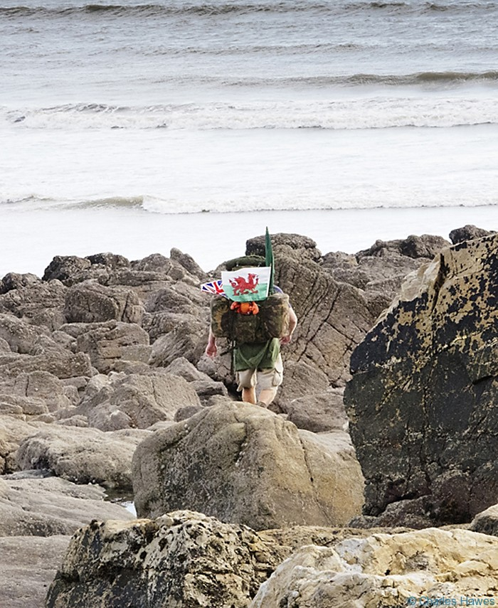 Christian Nock  photographed from the Wales Coast Path between St Clears and Amroth by Charles Hawes. Walking in Wales.