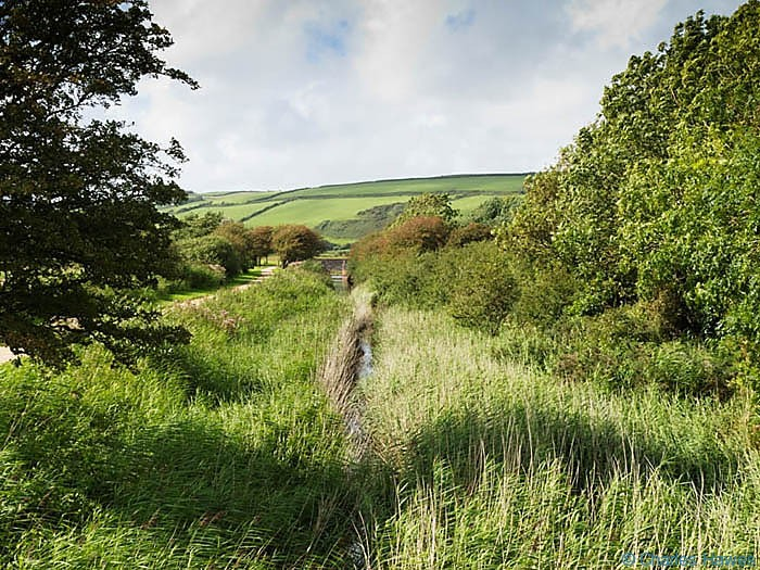 Camlas Keymer canalphotographed on The Wales Coast path between Llanelli and Kidwelly by Charles Hawes. Walking in Wales.