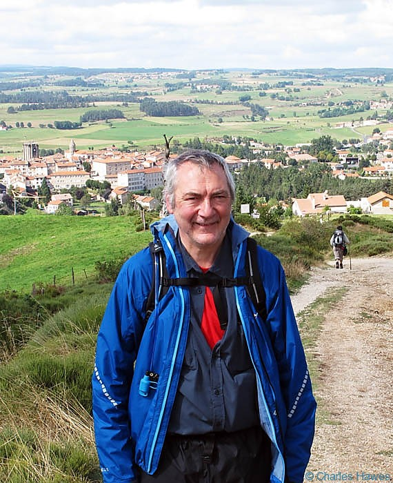 Charles Hawews wearing a Montane minimus jacket on the Way of St James in France (Route St Jacques or GR 65)