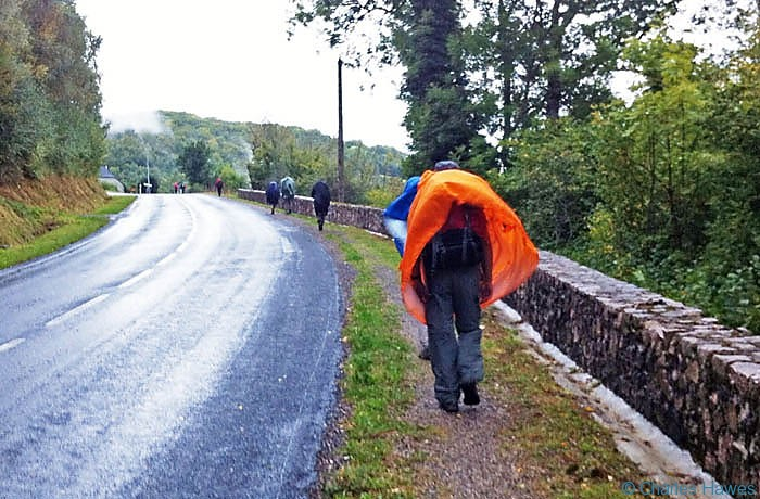 Poncho style waterproof seen on the Way of St James (route St Jacques or GR 65) in France.