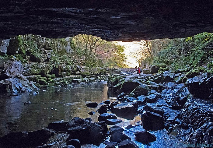View from inside Porth yr Ogof cave in Powys, Wales, photographed by Charles hawes. Walking in Wales.