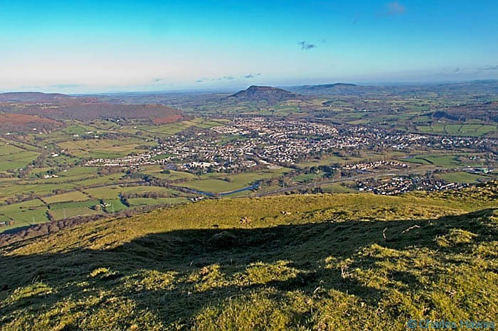 View over Abergavenny from Blorenge, Photographed by Charles Hawes. Walking in Wales.