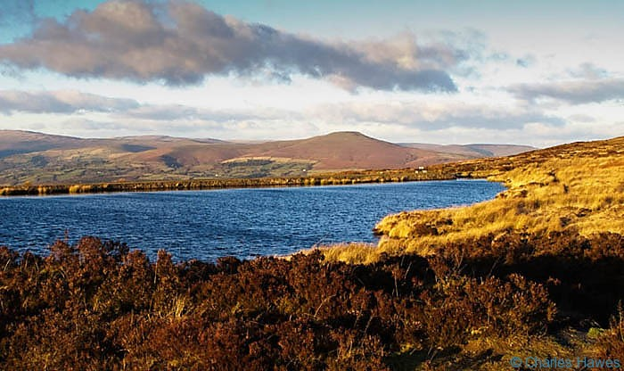 Keepers Pond near Blaenavon near sunset, photographed by Charles Hawes. Walking in Wales.