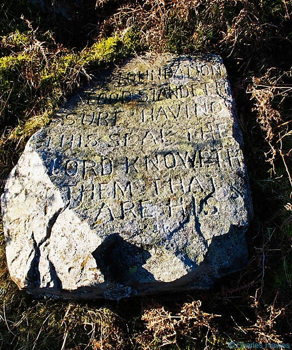 Inscribed stone by the side of the tramroad on Mynydd Llangatwg, Powys, photographed by Charles Hawes