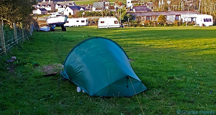 Castle farm camp Site off the Wales Coast Path at Angle, Pembrokeshire, photographed by Charles Hawes