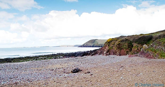 The beach at Manorbier on the Wales Coast Path in Pembrokeshire, photographed by Charles Hawes