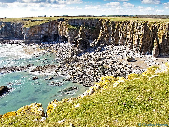 Limestone cliffs near Stackpole, Pembrokeshire viewed from The Wales Coast path, Pembrokeshire, photographed by Charles Hawes