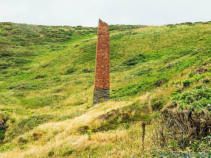 Chimney  of disused mine near Newgale sands, photographed from The Wales Coast Path by Charles Hawes