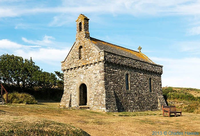 Victoran chapel at St Non's retreat, Pembrokeshire, photographed from The Wales Coast Path by Charles Hawes