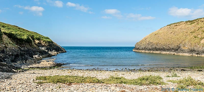 beach between Cwm-yr-Eglwys and Newport, Pembrokeshire, photographed from The Wales Coast path by Charles Hawes