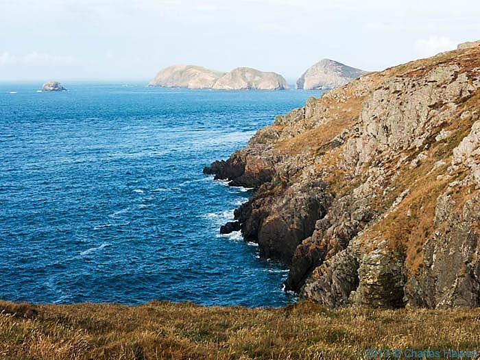 View towards Ynys-Bery off Ramsey Island, Pembrokeshire, photographed from The Wales Coast Path by Charles Hawes