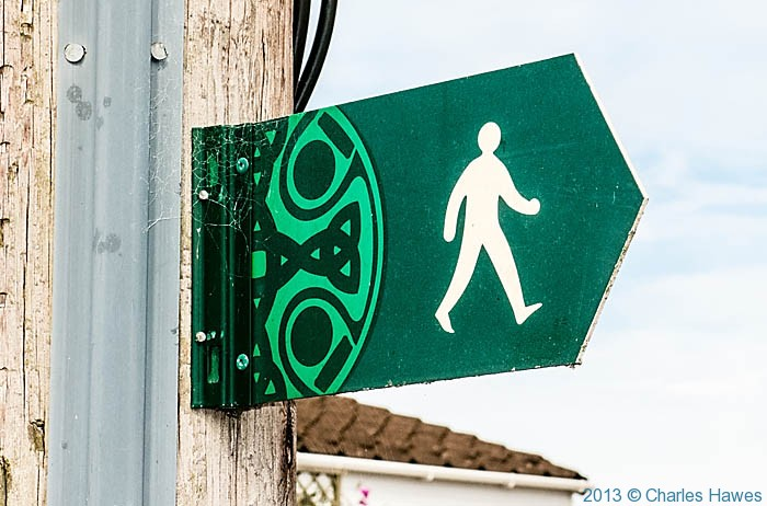 Footpath sign in St Dogmaels, Pembrokeshire, photographed by Charles Hawes