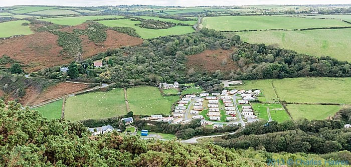 caravan Park at Cwmtydu, photographed from The wales Coast path in Ceredigion by Charles Hawes