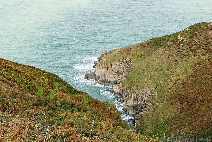 Inlet between Aberporth and Mwnt in Ceredigion, photographed from The Wales Coast Path by Charles Hawes