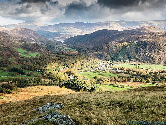 View  to Beddgelert and Llyn Dinas from the slopes of Moel Heborg, photographed by Charles Hawes
