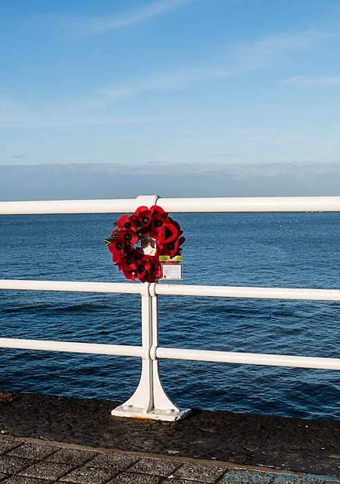 Wreath of poppies on railing of Aberystwyth sea-front photographed by Carles Hawes