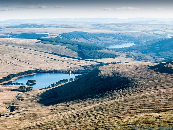 View over Upper Neuadd reservoir from Corn Du, Brecon Beacons National Park, photographed by Charles Hawes