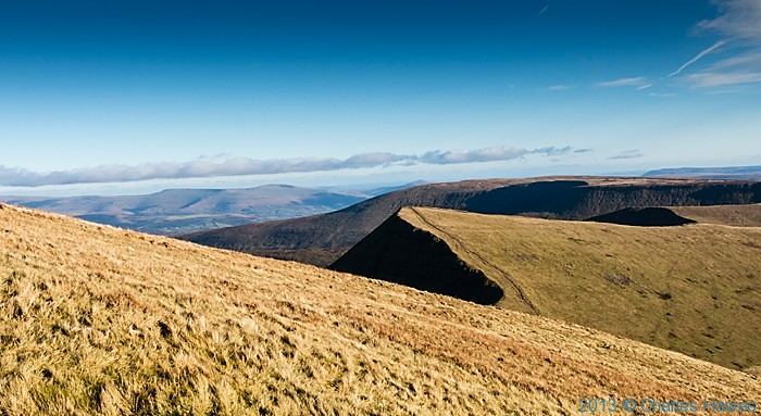 View from Pen-Y-Fan to Cribyn, Brecon Beacons National Park, photographed by Charles Hawes