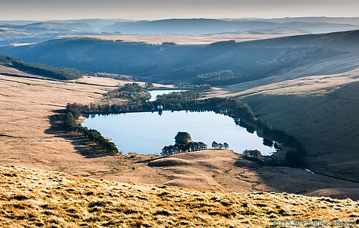 View over Upper Neuadd reservoir from Cribyn,Brecon Beacons National Park, photographed by Charles Hawes