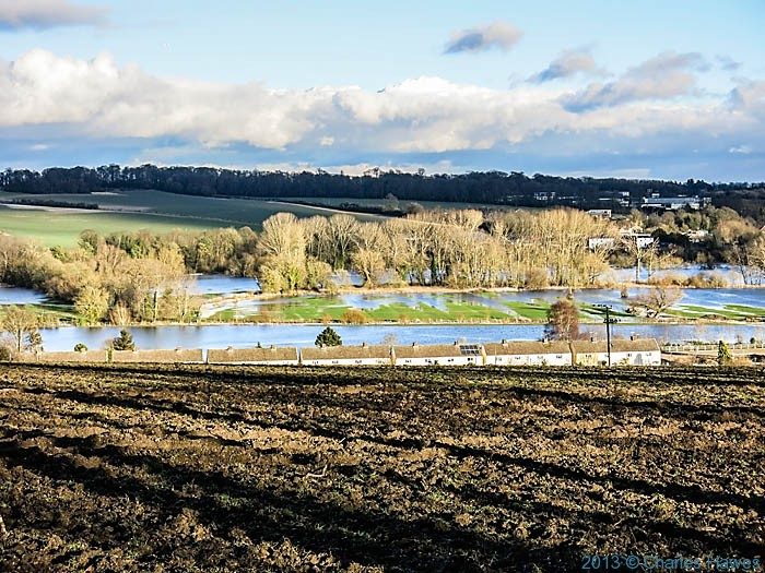 Flooded river Wylye, near Wilton, Wiltshire, photographed by Charles Hawes