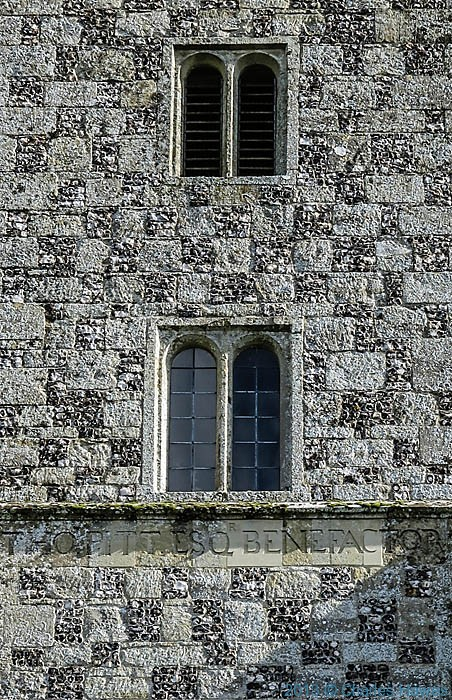 Incription of the benefactor of St Lawrence Church, Stratford Sub Castle, Salisbury, photographed by Charles Hawes