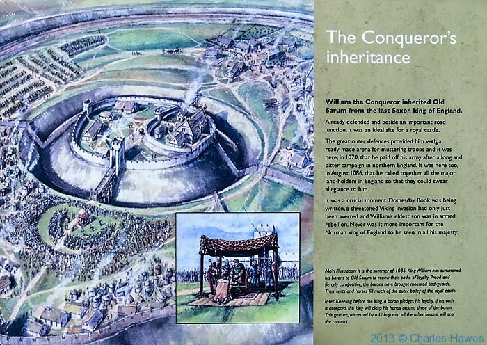Interpretation board at Old Sarum, Wiltshire, photgraphed by Charles Hawes