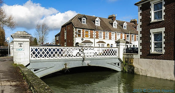 19th century iron railway bridge across the Avon in Salisbury, photographed by Charles Hawes