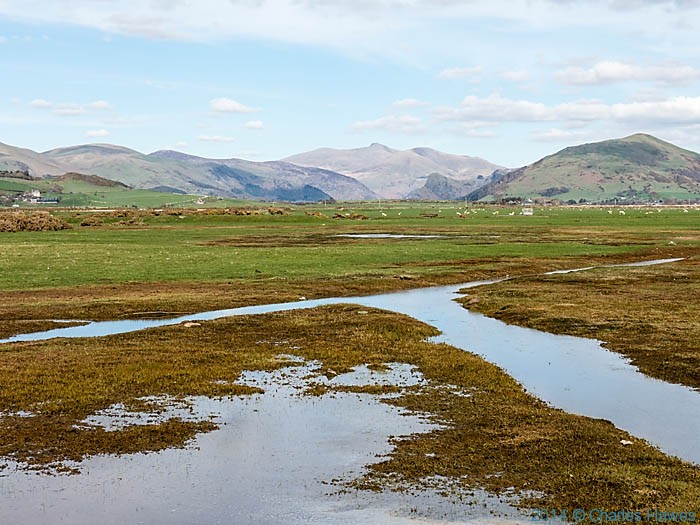 View across the Dysynni flood plain to Snowdonia, photographed from The Wales Coast path by Charles Hawes