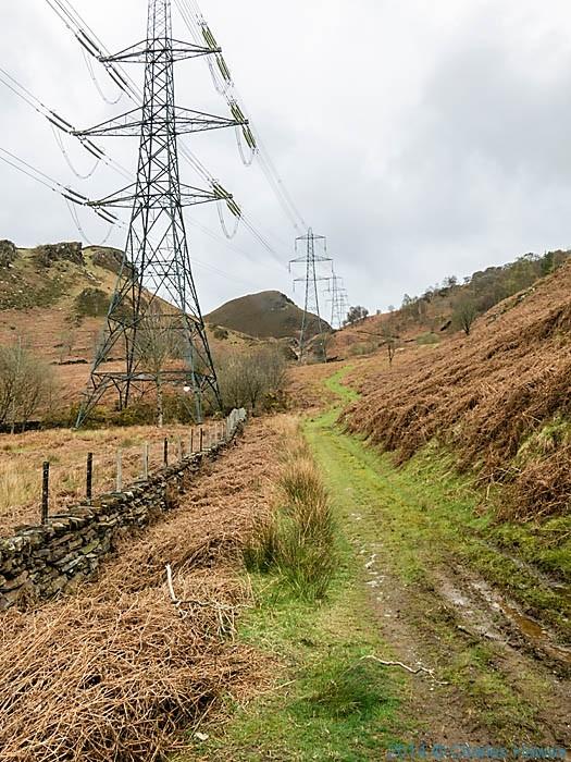 Pylons near Trem-y-Garth, Gwynedd, photographed from The Wales Coast Path by Charles Hawes